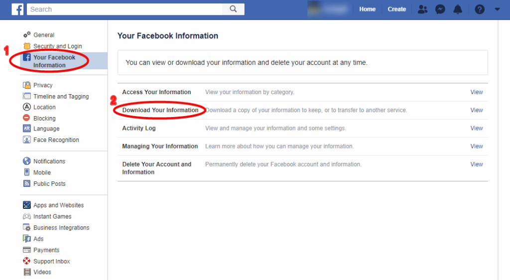 How to Download Information of your Facebook Information