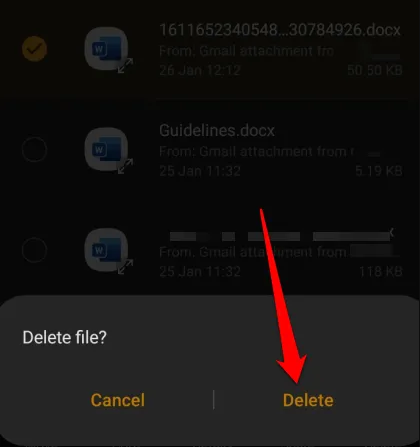 delete downloads android